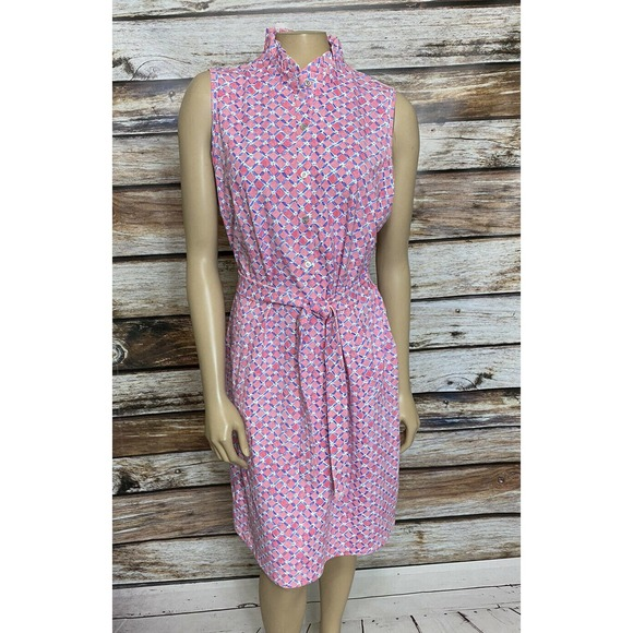 J. McLaughlin Doris Lattice Print Dress XL Pink
